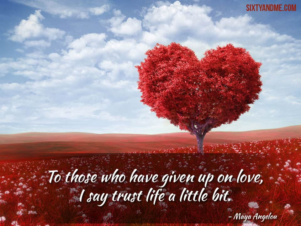 """Love After 50 - Maya Angelou """"To those who have given up on love, I say trust life a little bit."""""""