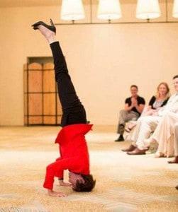 Joan Frances Moran performing a headstand