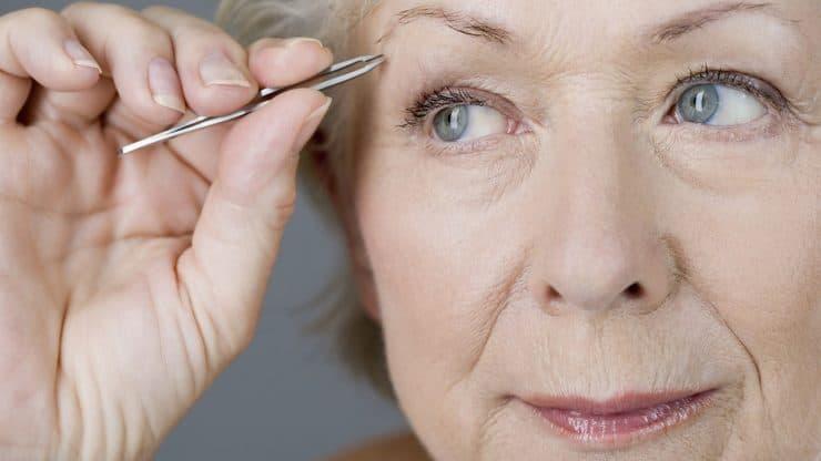 Senior Woman Uneven Eyebrows
