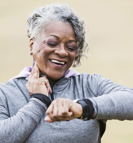 Senior woman healthy heart