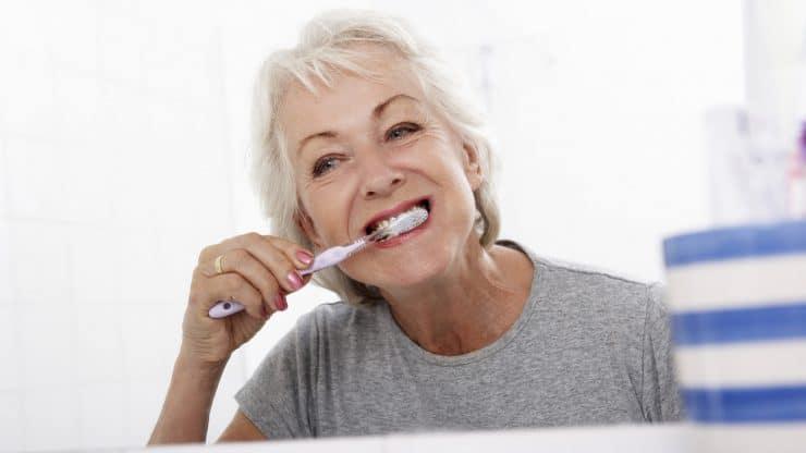 Senior woman teeth care