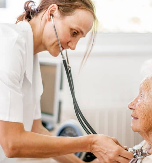 senior woman hospital patient reducing risk of healthcare asquired infections