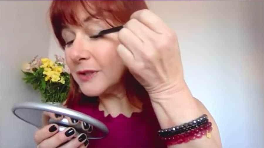 makeup for Older Women Applying Eyeliner on Eyelids
