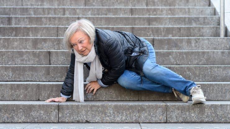 Senior woman fall injury